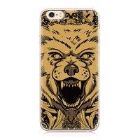Чехол накладка для iPhone SE / 5S / 5 силиконовый с рисунком Волк