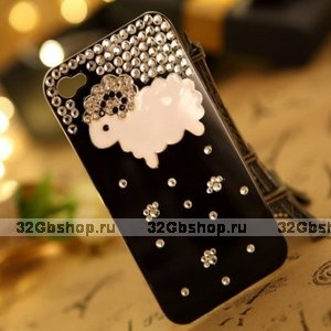 Чехол со стразами Happy Sheep Black для iPhone 5 / 5s / SE - овечка со стразами