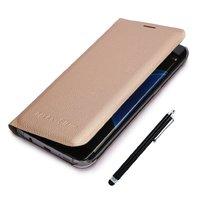 Золотой чехол книжка Wallet Card Flip Cover для Samsung Galaxy S7 Edge