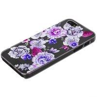 Прозрачный пластиковый чехол со стразами для iPhone SE / 5s / 5 цветы