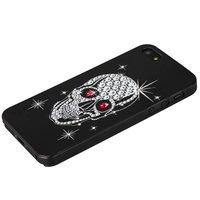 Прозрачный пластиковый чехол череп со стразами для iPhone SE / 5s / 5
