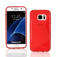Красный силиконовый чехол c волной для Samsung Galaxy S7 - S Line Wave Silicone Case Red