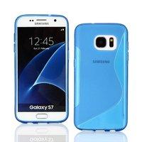 Голубой силиконовый чехол c волной для Samsung Galaxy S7 - S Line Wave Silicone Case Blue