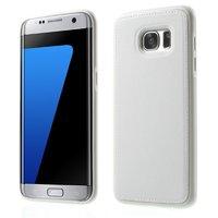 Силиконовый чехол под кожу для Samsung Galaxy S7 Edge белый с прострочкой