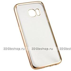 Прозрачный силиконовый чехол с золотым бампером для Samsung Galaxy S7