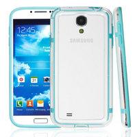 Чехол бампер для Samsung Galaxy S4 GT-I9500 прозрачный с голубой вставкой