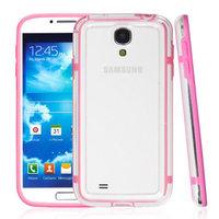 Чехол бампер для Samsung Galaxy S4 GT-I9500 прозрачный с розовой вставкой