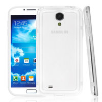 Чехол бампер для Samsung Galaxy S4 mini прозрачный с белой вставкой