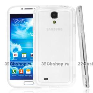 Чехол бампер для Samsung GT-I9500 Galaxy S IV прозрачный с белой вставкой