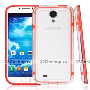 Чехол бампер для Samsung Galaxy S4 GT-I9500 прозрачный с красной вставкой