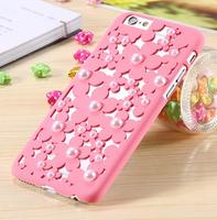 Пластиковый чехол накладка с рисунком цветы и жемчужины для iPhone 6s / 6 розовый
