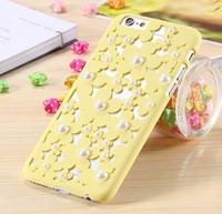 Пластиковый чехол накладка с рисунком цветы и жемчужины для iPhone 6s / 6 желтый