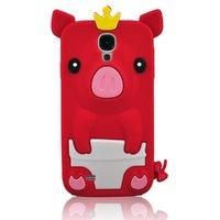 Силиконовый чехол для Samsung Galaxy S4 красный поросенок - Pig Silicone Case Red