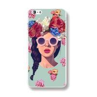 Пластиковый чехол накладка для iPhone 5s / SE / 5 Девушка в розовых очках