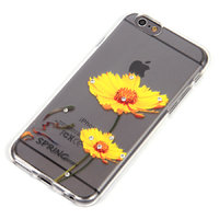 """Прозрачный силиконовый чехол для iPhone 6s / 6 (4.7"""") с рисунком желтые цветы и стразами"""