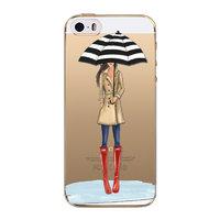 """Прозрачный силиконовый чехол для iPhone 6s / 6 (4.7"""") с рисунком девушка с зонтом"""