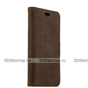 Коричневый замшевый чехол книга для iPhone 6s / 6 (4.7)- Valenta Booklet Classic Luxe Vintage Brown
