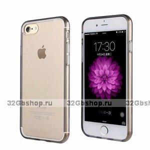 Черный прозрачный силиконовый чехол для iPhone 7