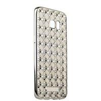 Чехол силиконовый объемный для Samsung Galaxy S7 edge со стразами Серебристый