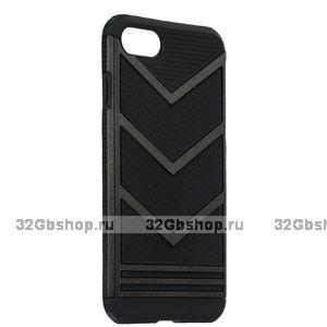 Защитный противоударный чехол для iPhone 7 / 8 черный пластик-силикон