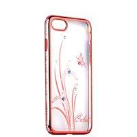 Розовый пластиковый чехол со стразами на iPhone 7 / 8 накладка орхидея