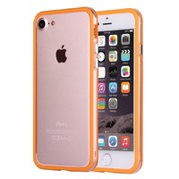 """Оранжевый бампер пластиковый для iPhone 7 (4.7"""") с прозрачной полосой"""