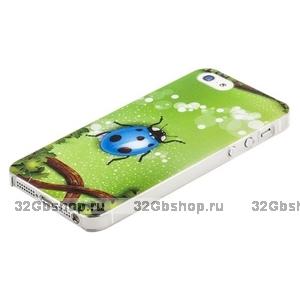 Накладка Ladybug Blue для iPhone 5 / 5s / SE божья коровка 3D