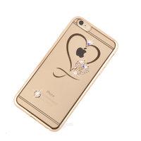 """Прозрачный силиконовый чехол для iPhone 6s / 6 (4.7"""") с рисунком Сердце и стразы"""