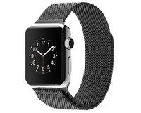 Стальной магнитный ремешок для Apple Watch 42mm браслет миланское плетение black - черный