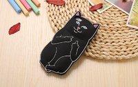 """Черный силиконовый чехол для iPhone 6 / 6s (4.7"""") Кот"""