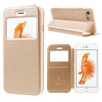 Золотистый чехол книжка с окошком на iPhone 7 / 8 - Ulike Window Leather Case Gold for iPhone 7 / 8