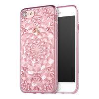 Розовый прозрачный силиконовый 3D чехол для iPhone 7 / 8 бриллиант - 3D Diamond Pink Transparent Case