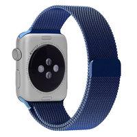 Стальной магнитный ремешок для Apple Watch 42mm браслет миланское плетение blue - голубой