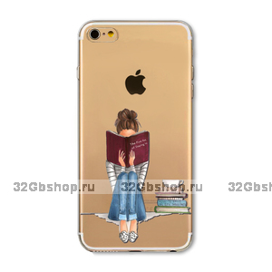 Прозрачный силиконовый чехол для iPhone 7 / 8 - Transparent Silicone Case с рисунком Девушка с книгой