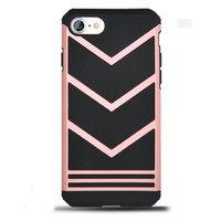 Защитный противоударный чехол для iPhone 7 / 8 черный вставка розовое золото пластик-силикон