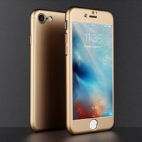 Двухсторонний пластиковый чехол 360 для iPhone 7 / 8 золото Soft-touch с защитным стеклом