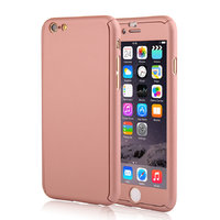 """Двухсторонний пластиковый чехол 360 для iPhone 6 / iPhone 6s (4.7"""") розовое золото с стеклом"""