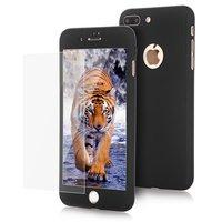 """Двухсторонний пластиковый чехол 360 для iPhone 7 Plus / 8 Plus (5.5"""")  черный - black Soft-touch с защитным стеклом"""