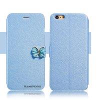 """Чехол книжка - подставка для iPhone 6 / 6s (4.7"""") голубая с застежкой бабочкой и отсеком для хранения карт"""