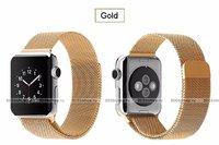 Стальной магнитный ремешок для Apple Watch 38mm браслет миланское плетение gold - золото