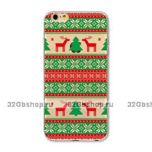 """Прозрачный силиконовый чехол для iPhone 6s / 6 (4.7"""") с рисунком новогодний орнамент"""