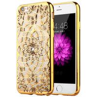 Силиконовый чехол для iPhone 7 / 8 со стразами и золотой ободок