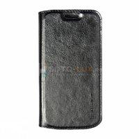 Чехол книга NOSSON для Samsung Galaxy S4 Mini черная с отсеком для хранения карт