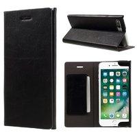 Черный кожаный чехол книжка подставка для iPhone 7 Plus / 8 Plus - JOYROOM с отсеком для хранения карт