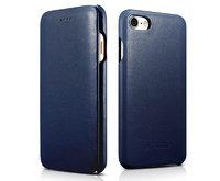 Синий кожаный чехол книга для iPhone 7 / 8 - i-Carer Curved Edge Luxury Genuine Leather Case Blue