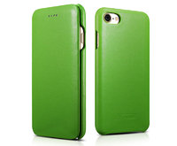 Зеленый кожаный чехол книга для iPhone 7 / 8 - i-Carer Curved Edge Luxury Genuine Leather Case Green