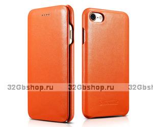 Оранжевый кожаный чехол книга для iPhone 7 / 8 - i-Carer Curved Edge Luxury Genuine Leather Case Orange