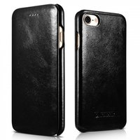 Черный винтажный кожаный чехол книга для iPhone 7 / 8 - i-Carer Curved Edge Vintage Series Genuine Leather Case Black