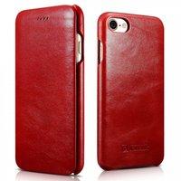Красный винтажный кожаный чехол книжка для iPhone 7 / 8 - i-Carer Curved Edge Vintage Series Genuine Leather Case Red