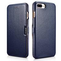 Кожаный чехол книга для iPhone 7 Plus / 8 Plus синий с магнитной защелкой - i-Carer Luxury Series Magnetic Side-open Blue
